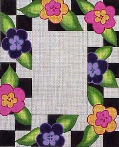 click here to view larger image of Black and White Check with Flowers (hand painted canvases)