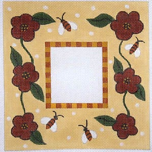 click here to view larger image of Bees and Flowers with Check Border (hand painted canvases)