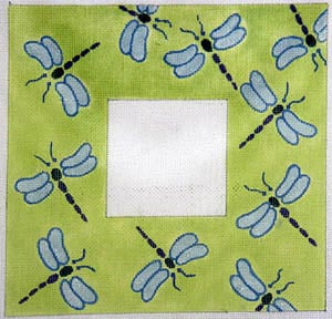 click here to view larger image of Iridescent Dragonflies - Lime Background (hand painted canvases)