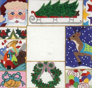 click here to view larger image of Christmas Patchwork (hand painted canvases)