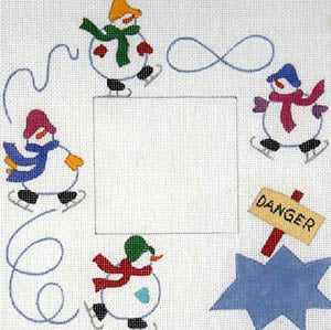 click here to view larger image of Skating Snowmen (hand painted canvases)