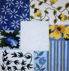 click here to view larger image of Blue and Yellow Floral Collage (hand painted canvases)