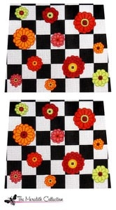 click here to view larger image of Zinnias on Black and White Check (hand painted canvases)