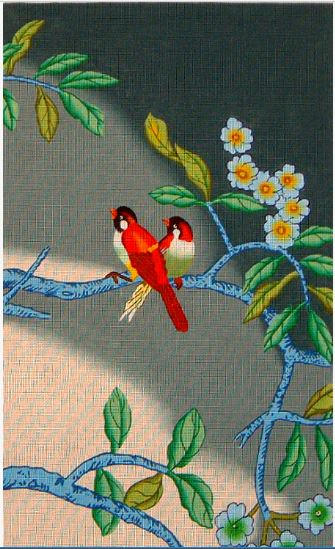click here to view larger image of Red Birds on Blue Background (hand painted canvases)