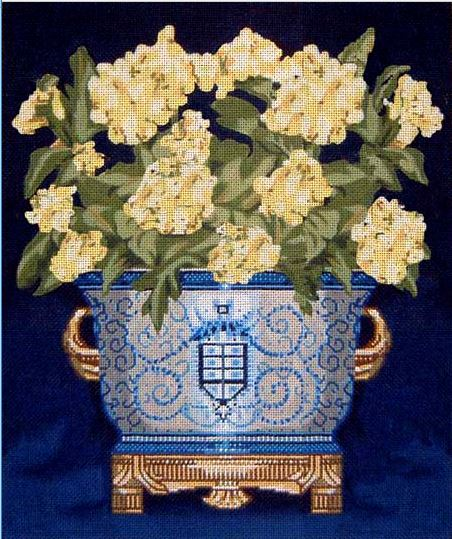 click here to view larger image of White Flowers in Blue Vase (hand painted canvases)