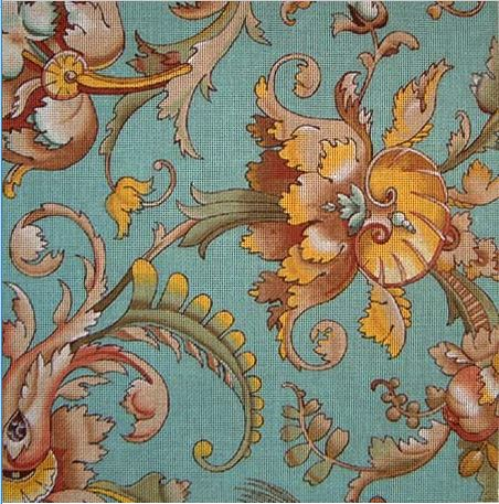 click here to view larger image of Baroque Teal (hand painted canvases)