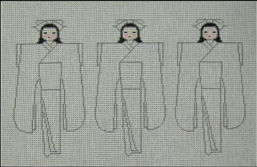 click here to view larger image of Japanese Paper Dolls (hand painted canvases)