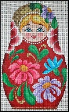 click here to view larger image of Nesting Doll Floral - Large (hand painted canvases)
