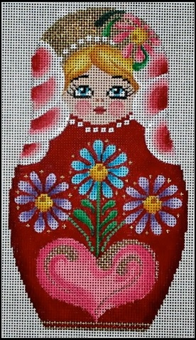 click here to view larger image of Nesting Doll Floral - Small (hand painted canvases)