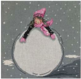 click here to view larger image of Little Girl and Huge Snowball (hand painted canvases)