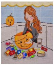 click here to view larger image of Halloween Candy Time (hand painted canvases)
