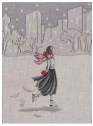 click here to view larger image of Ice Skater with Cityscape (hand painted canvases)