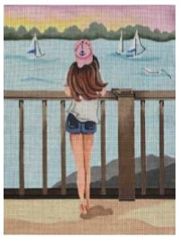 click here to view larger image of Looking at Sailboats (hand painted canvases)