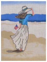click here to view larger image of Beach Lady with American Flag (hand painted canvases)