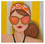 click here to view larger image of Sunglass Lady on Yellow/white Towel (hand painted canvases)