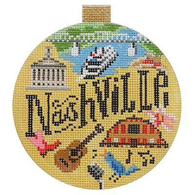 click here to view larger image of Nashville - Travel Round (hand painted canvases)