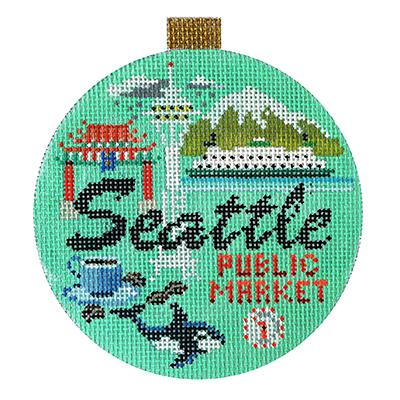click here to view larger image of Seattle - Travel Round (hand painted canvases)