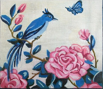 click here to view larger image of Blue Bird and Peony (hand painted canvases)