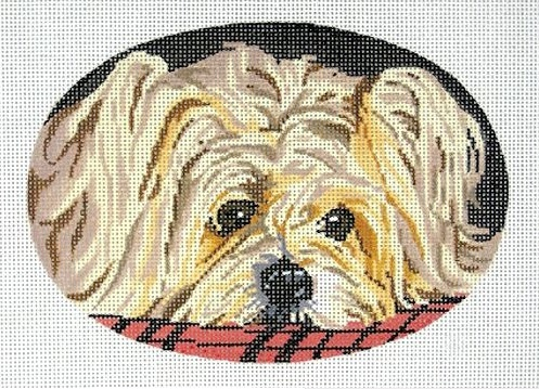 click here to view larger image of Silky Terrier Oval (hand painted canvases)