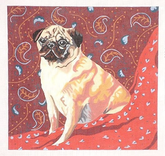 click here to view larger image of Pug on Paisley (hand painted canvases)