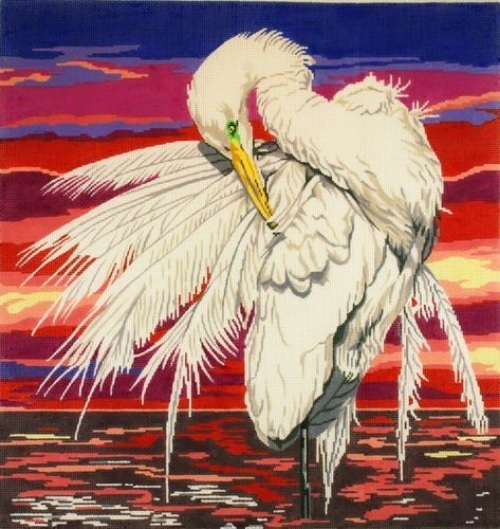 click here to view larger image of Large Egret with Sunset (hand painted canvases)