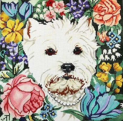 click here to view larger image of Westie in Flowers (hand painted canvases)