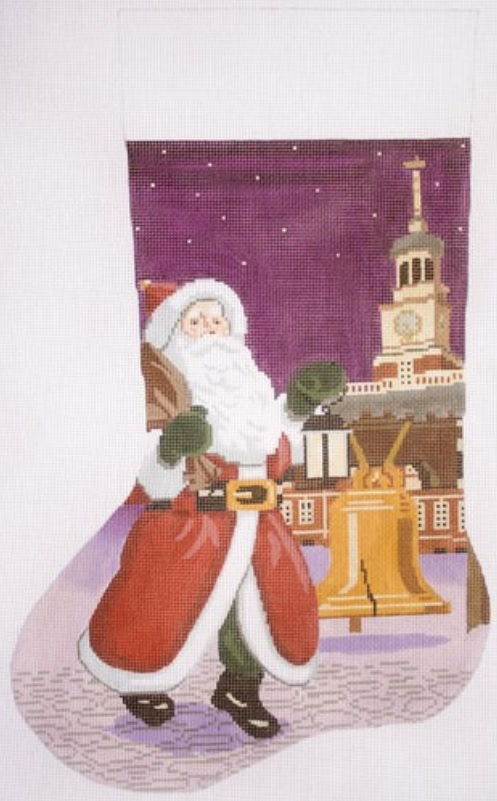 click here to view larger image of Santa with Liberty Bell (hand painted canvases)