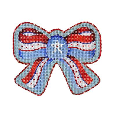 click here to view larger image of Americana - Red, White and Blue Bow (hand painted canvases)