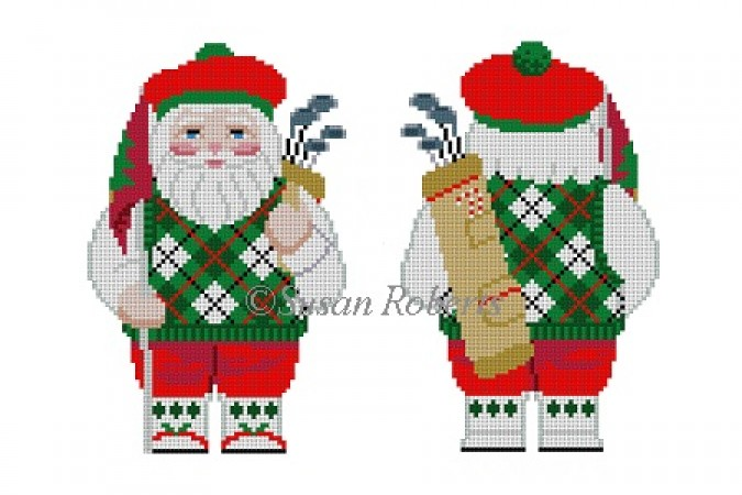 click here to view larger image of Santa Golfing Two Sided (hand painted canvases)