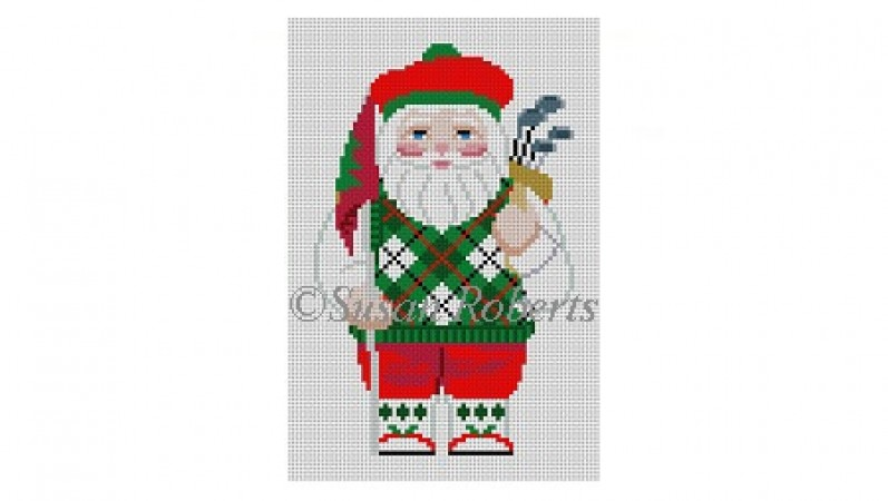 click here to view larger image of Santa Golfing (hand painted canvases)