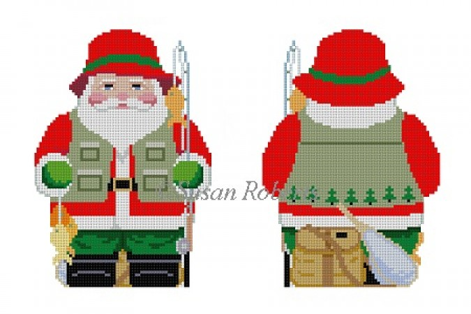 click here to view larger image of Fishing Santa Two Sided (hand painted canvases)