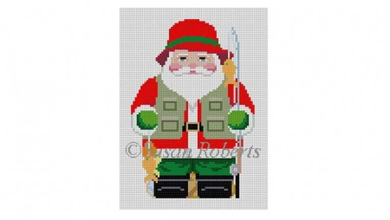click here to view larger image of Fishing Santa (hand painted canvases)