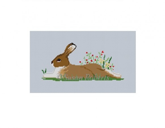 click here to view larger image of Rabbit in Flowers (hand painted canvases)