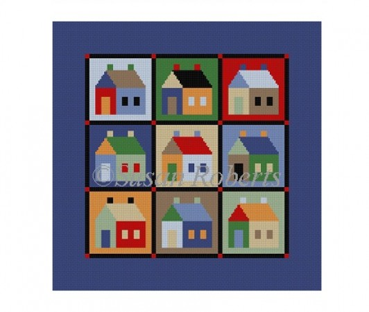 click here to view larger image of Houses Quilt (hand painted canvases)