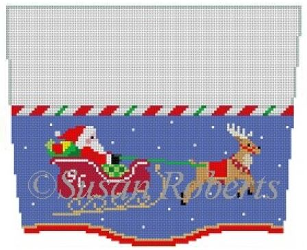 click here to view larger image of Sleighride Stocking Topper (hand painted canvases)