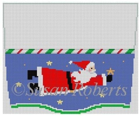 click here to view larger image of Santa Flying Stocking Topper (hand painted canvases)