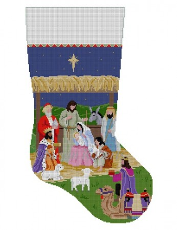 click here to view larger image of Nativity Stable Stocking (hand painted canvases)
