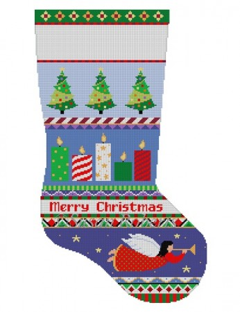 click here to view larger image of Bold Stripes Candles Stocking (hand painted canvases)