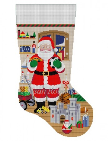 click here to view larger image of Santa with Castle/Boy Toys Stocking (hand painted canvases)