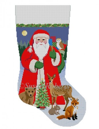 click here to view larger image of Santa with Bay Forest Animals Stocking (hand painted canvases)