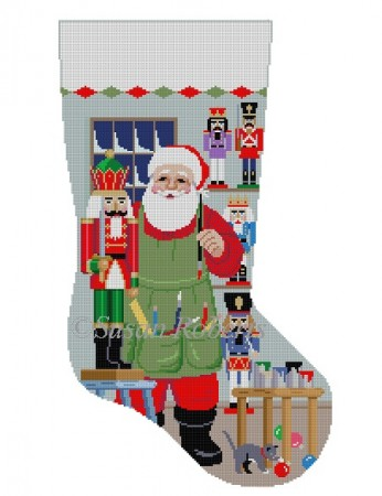 click here to view larger image of Santa Painting Nutcrackers Stocking (hand painted canvases)