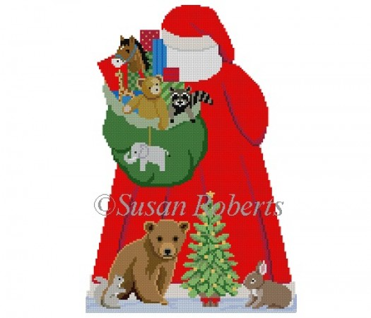 click here to view larger image of Santa with Baby Forest Animal Tree Topper Back (hand painted canvases)