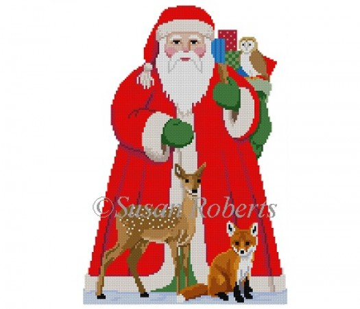 click here to view larger image of Santa with Baby Forest Animal Tree Topper front (hand painted canvases)