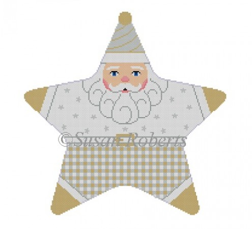 click here to view larger image of Star Gold Silver Santa Tree Topper (hand painted canvases)