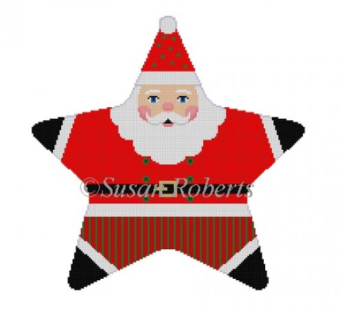 click here to view larger image of Red Star Santa Tree Topper (hand painted canvases)