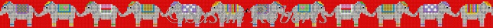 click here to view larger image of Elephant Parade on Red Belt (hand painted canvases)