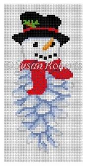 click here to view larger image of Pinecone Snowman (hand painted canvases)