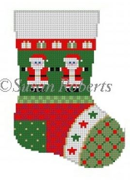 click here to view larger image of Patchwork Santa Mini Sock (hand painted canvases)