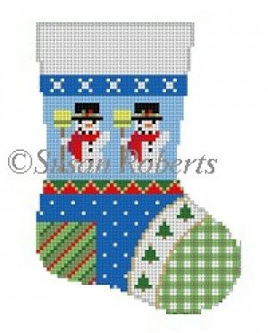 click here to view larger image of Patchwork Snowman Mini Sock (hand painted canvases)