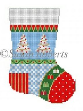 click here to view larger image of Patchwork Star Mini Sock (hand painted canvases)